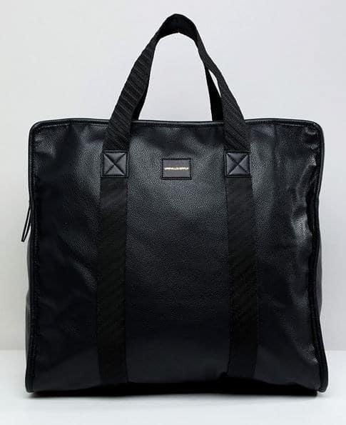 MENS OVERSIZED BLACK FAUX LEATHER TOTE BAG BY ASOS DESIGN