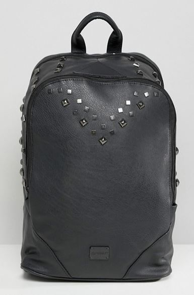 MENS STUDDED BLACK FAUX LEATHER BACKPACK BY SPIRAL