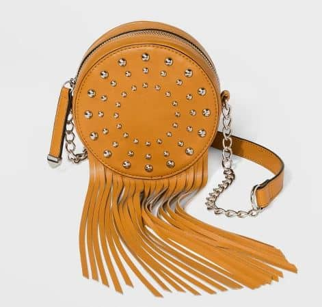 MINI STUDDED CIRCLE FRINGE BAG BY WILD FABLE