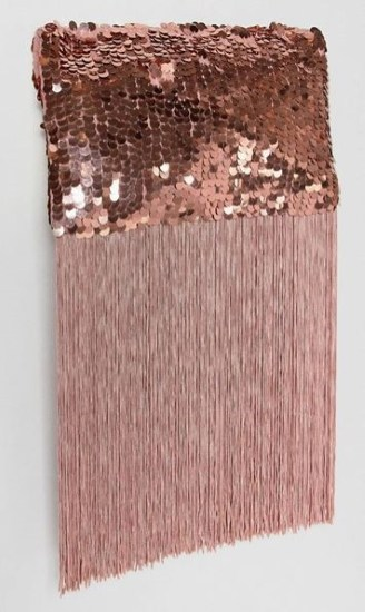 PINK SEQUIN FRINGE FOLDOVER CLUTCH BY ASOS DESIGN