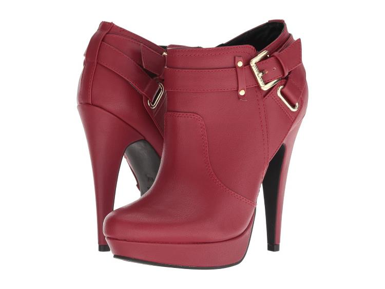 RED FAUX LEATHER LADIES PLATFORM ANKLE BOOTIES WITH STILETTO HEELS FROM G BY GUESS
