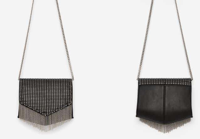 RHINESTONE BLACK CHAIN FRINGE BAG BY EXPRESS