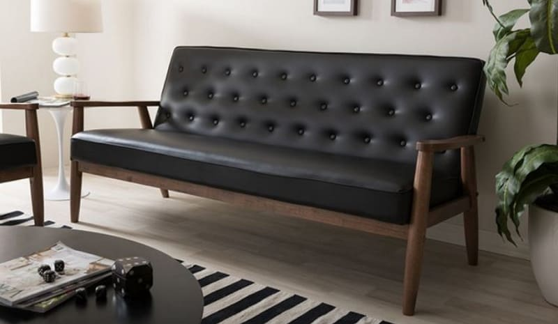 SORRENTO RETRO UPHOLSTERED WOODEN SOFA
