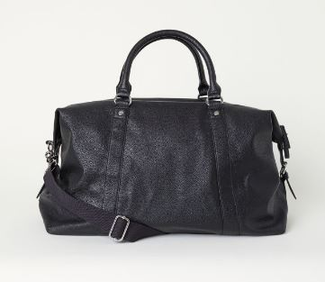 UNISEX BLACK FAUX LEATHER WEEKEND BAG FROM H&M