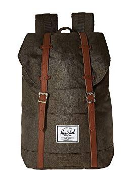 UNISEX GRAY CROSSHATCH BACKPACK WITH FAUX LEATHER STRAPS BY HERSCHEL SUPPLY CO