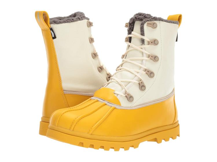 UNISEX YELLOW AND WHITE JIMMY 30 TREKLITE DUCK BOOTS WITH FAUX SHEARLING LINING BY NATIVE SHOES