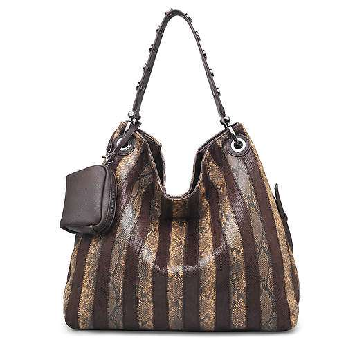 AMARA BROWN FAUX SNAKESKIN HOBO BAG BY URBAN EXPRESSIONS