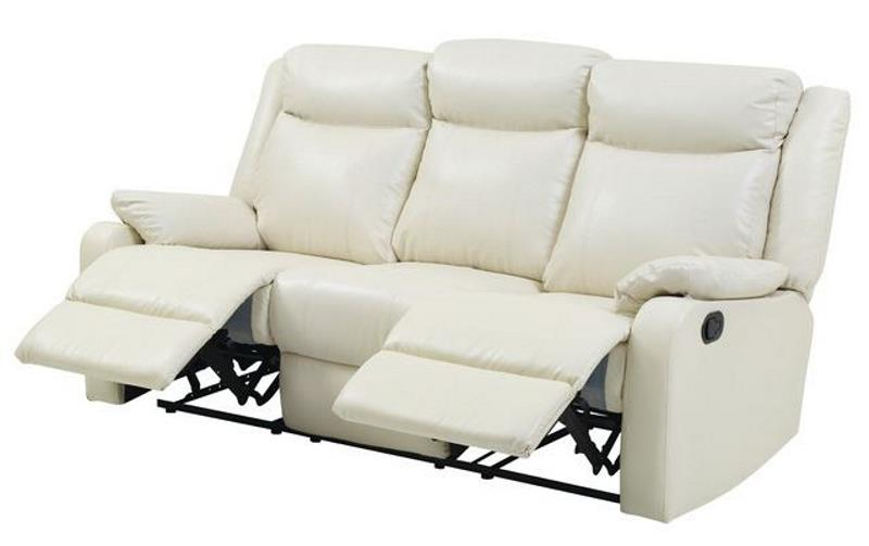 WENDOVER FAUX LEATHER DOUBLE RECLINING SOFA, PEARL