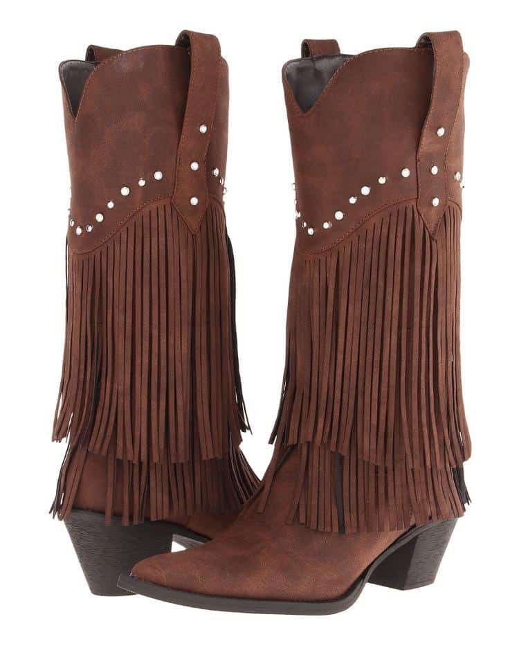 WESTERN WOMENS BROWN FAUX LEATHER FRINGE KNEE BOOTS WITH RHINESTONES BY ROPER