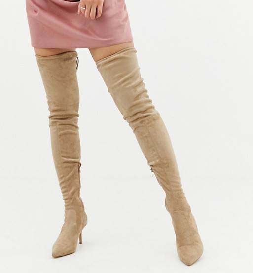 WOMENS BEIGE FAUX SUEDE THIGH HIGH BOOTS WITH KITTEN HEELS BY MISSGUIDED
