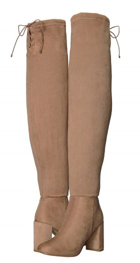 WOMENS BEIGE SUEDETTE THIGH HIGH KING BOOTS BY CHINESE LAUNDRY