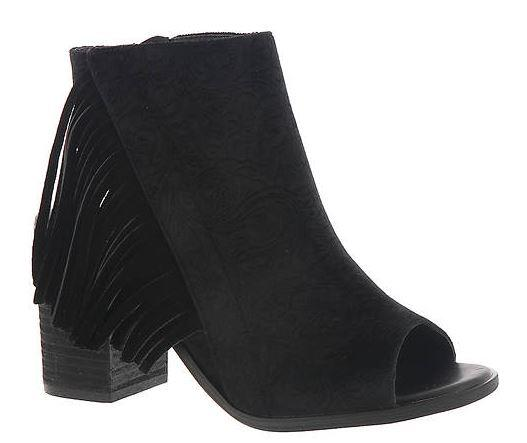 WOMENS BLACK EMBOSSED VELVET BACKLESS PEEP TOE ANKLE BOOTS BY VERY VOLATILE