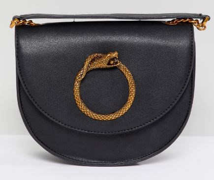 WOMENS BLACK HALF MOON SNAKE MEDALLION CROSSBODY BAG FROM MY ACCESSORIES