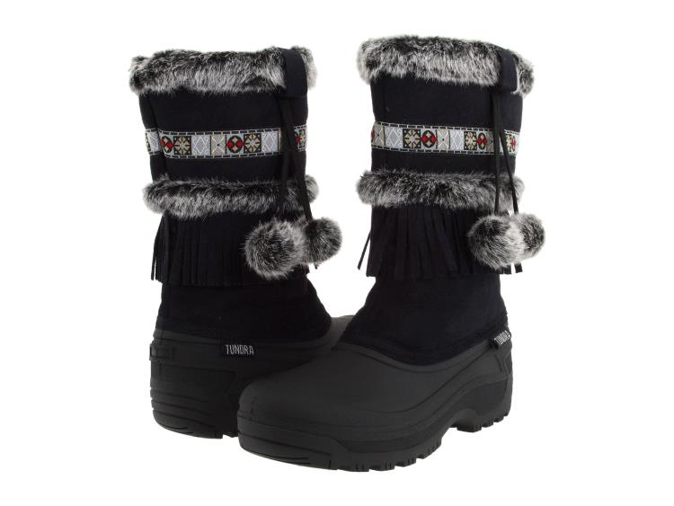 WOMENS BLACK WATERPROOF WINTER BOOTS WITH FRINGE AND FAUX FUR BY TUNDRA BOOTS