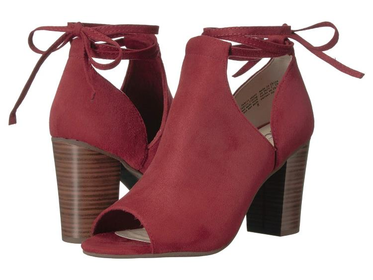 WOMENS BRICK RED VEGAN SUEDE PEEP TOE TIE BACK ANKLE BOOTIES BY SEYCHELLES