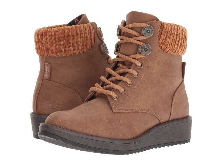 WOMENS BROWN WEDGE HIKER BOOTS WITH CHENILLE KNIT CUFFS BY BLOWFISH