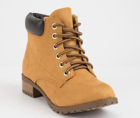 WOMENS CAMEL BEIGE FAUX SUEDE ANKLE WORK BOOTS BY SODA