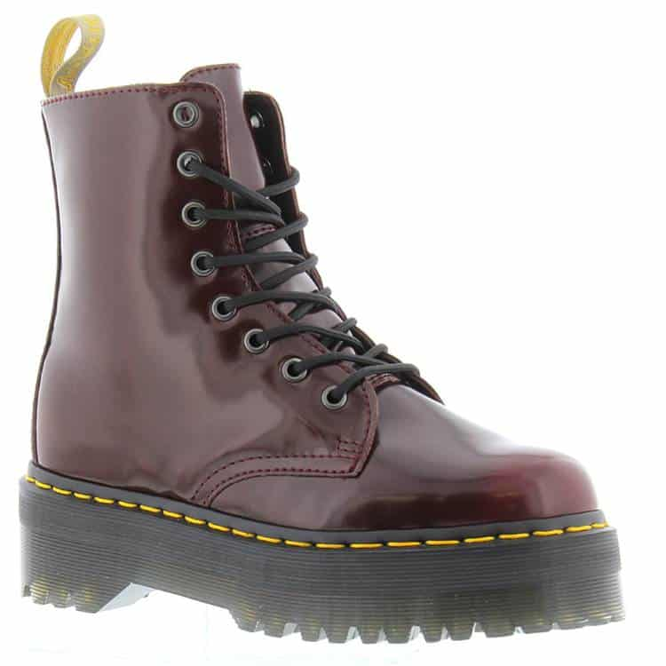 WOMENS CHERRY RED JADON II VEGAN LEATHER COMBAT BOOTS WITH PLATFORM SOLE BY DR. MARTENS