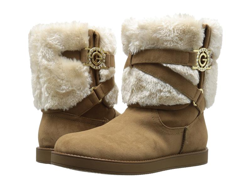 WOMENS DESIGNER ALLIO HONEY BROWN UGG STYLE BOOTS WITH FAUX FUR CUFFS FROM G BY GUESS