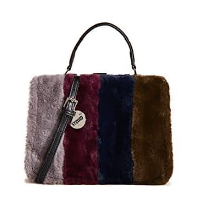 WOMENS FAUX LEATHER CROSSBODY BAG WITH FAUX FUR BY STUDIO 33