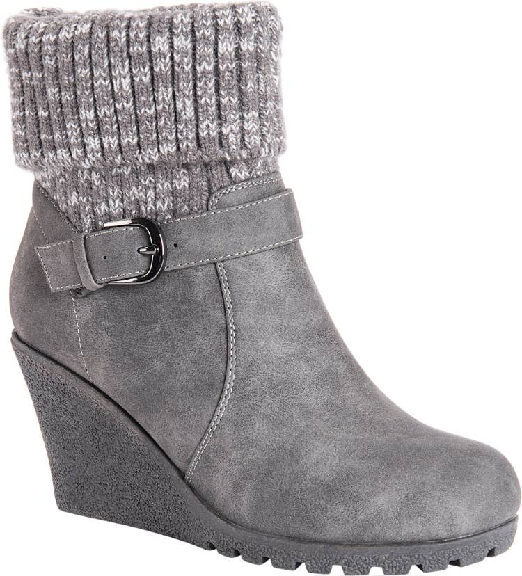 WOMENS GRAY WATER RESISTANT WINTER WEDGE BOOTS WITH KNIT LEGS BY MUK LUKS