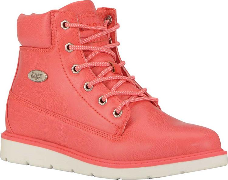 WOMENS PINK 6 LACE UP WEDGE WORK BOOTS BY LUGZ