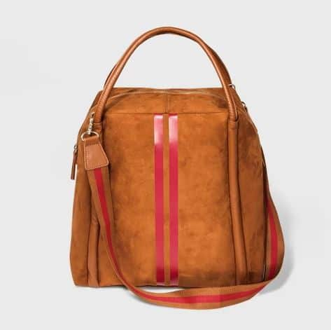 WOMENS PINK STRIPE FAUX LEATHER WEEKENDER BY WHO WHAT WEAR