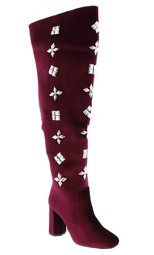 WOMENS RHINESTONE ENCRUSTED BURGUNDY VELVET THIGH HIGH BOOTS BY PENNY LOVES KENNY