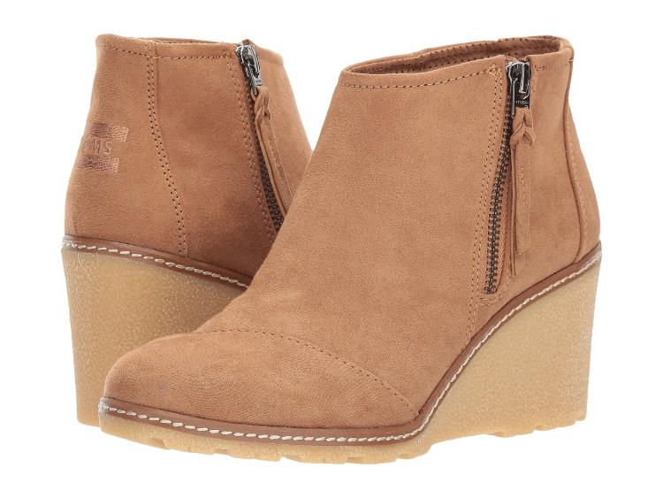 WOMENS TOFFEE BEIGE MICROFIBER ANKLE WEDGES BY TOMS