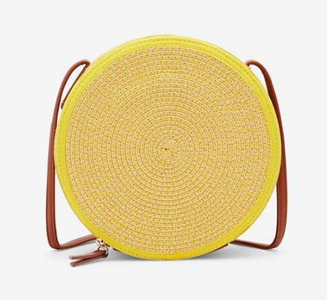 WOMENS YELLOW CIRCLE PAPER STRAW CROSSBODY BAG BY EXPRESS