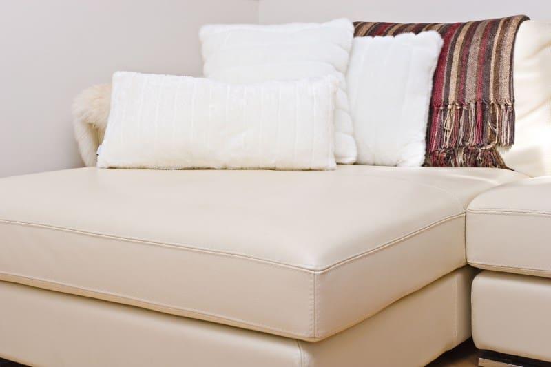 cream faux leather sofa