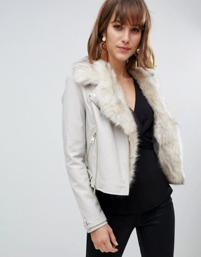 WOMEN'S FAUX FUR TRIM JACKET BY RIVER ISLAND
