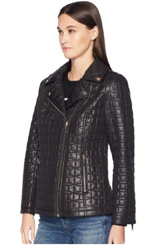 BOW QUILT VEGAN LEATHER JACKET BY KATE SPADE NEW YORK