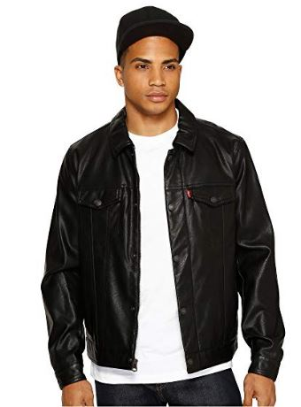 CLASSIC TRUCKER SNAP BUTTON FAUX LEATHER JACKET BY LEVIS