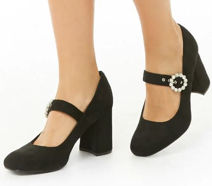 FAUX SUEDE BLOCK HEEL MARY JANES FROM FOREVER 21