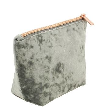 GRAY VELOUR MAKEUP BAG BY TARGET BEAUTY