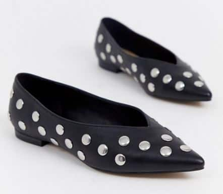 LACIE SILVER STUDDED BALLET FLATS BY ASOS DESIGN - vegan shoes for ballet