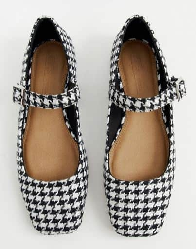 LINKS HOUNDSTOOTH MARY JANE BALLET FLATS BY ASOS DESIGN