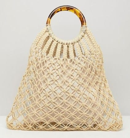 MACRAME TORT HANDLE SHOPPING BAG BY ASOS DESIGN