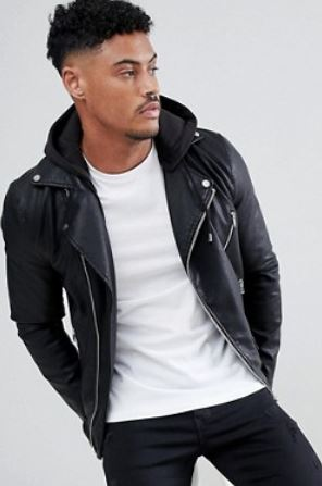 MENS BLACK DETACHABLE HOOD BIKER JACKET BY RIVER ISLAND