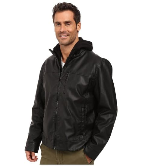 MENS BLACK FAUX LEATHER HOODIE JACKET BY CALVIN KLEIN