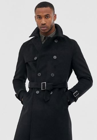 MENS BLACK MILITARY COAT BY RIVER ISLAND