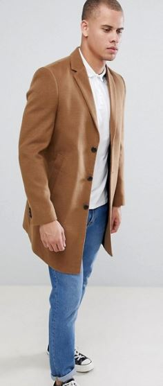 MENS CAMEL OVERCOAT BY NEW LOOK