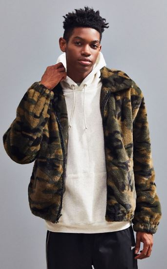 MENS CAMO FAUX FUR BOMBER JACKET BY URBAN OUTFITTERS
