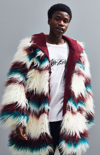 MENS COLORFUL STRIPED FAUX FUR COAT BY FRIED RICE
