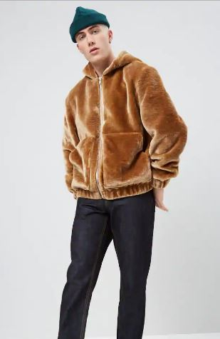 MENS FAUX FUR HOODIE JACKET FROM FOREVER 21