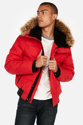 MENS FAUX FUR LINED PUFFER COAT FROM EXPRESS