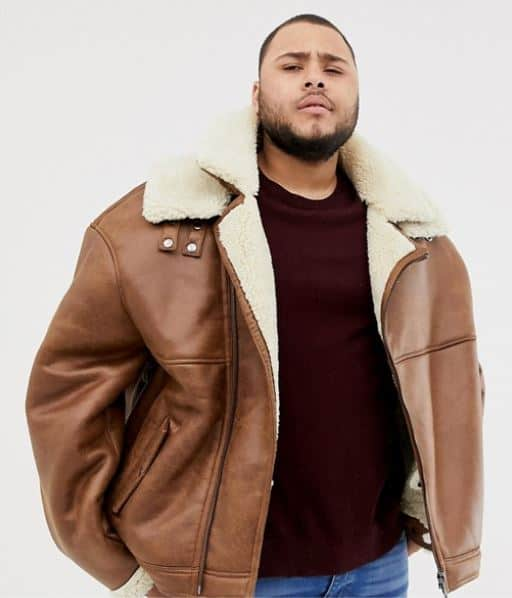 MENS FAUX LEATHER AND FLEECE BIKER JACKET BY RIVER ISLAND