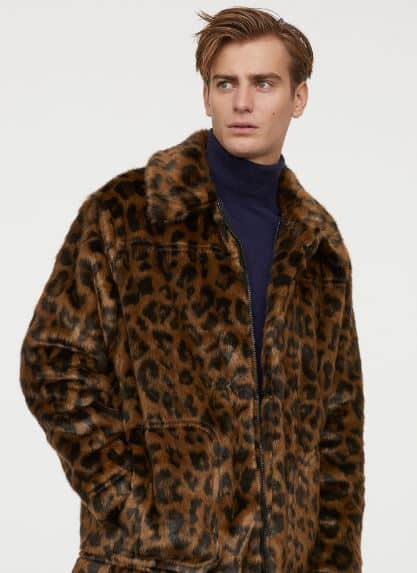 MENS LEOPARD PRINT FAUX FUR JACKET FROM H&M