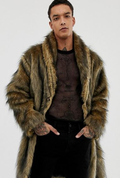 MENS LONG FAUX FUR JACKET FROM RECLAIMED VINTAGE AT ASOS